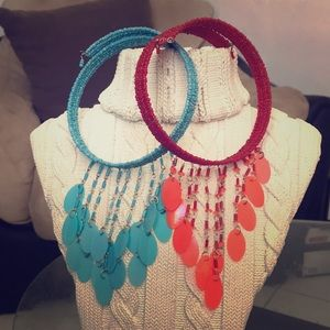 2 Glass and Plastic beaded Chokers